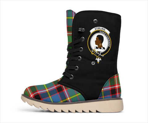 Tartan Women's Snow Boots - Clan Stirling (of Keir) Boots Side Crest - BN