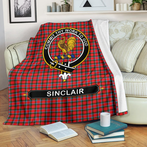 Image of Sinclair Crest Tartan Blanket | Tartan Home Decor | ScottishShop