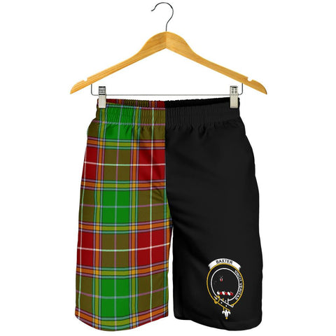 Tartan Mens Shorts - Clan Baxter Crest & Plaid Shorts - Half Of Me Style