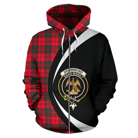 Tartan Zip Up Hoodie - Clan Drummond Modern Zip Up Hoodie - Circle Style Unisex