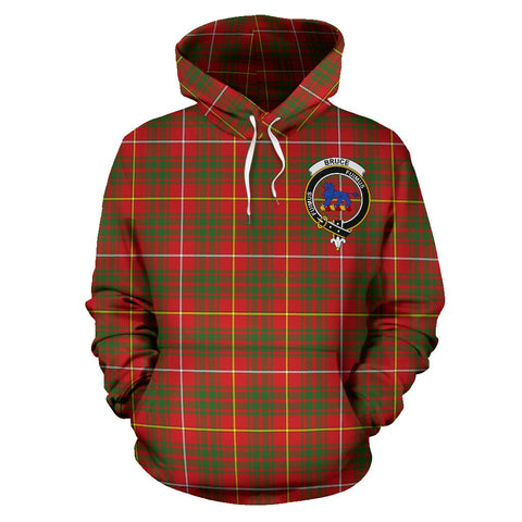 Tartan Clan Bruce Plaid Hoodie With Crest