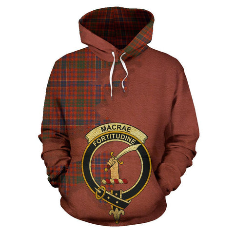 Image of Tartan Hoodie - Clan MacRae Ancient Crest & Plaid Hoodie - Scottish Lion & Map - Royal Style