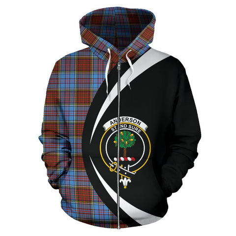 Image of ScottishShop Tartan Zip Up Hoodie - Clan Anderson Modern Hoodie - Circle Style