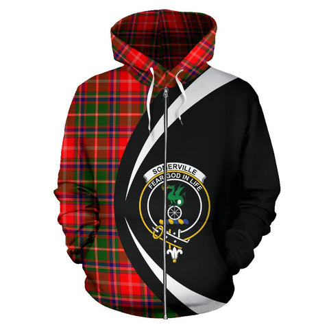 Tartan Zip Up Hoodie - Clan Somerville Modern Zip Up Hoodie - Circle Style Unisex