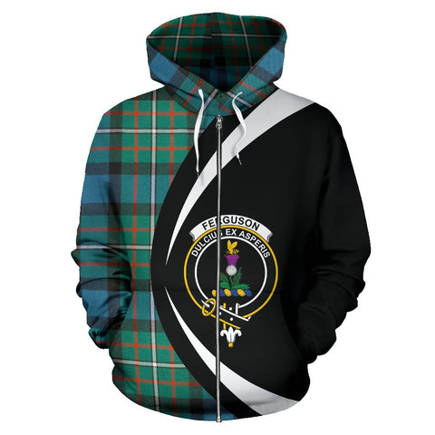 Image of Tartan Zip Up Hoodie - Clan Ferguson Ancient Zip Up Hoodie - Circle Style Unisex