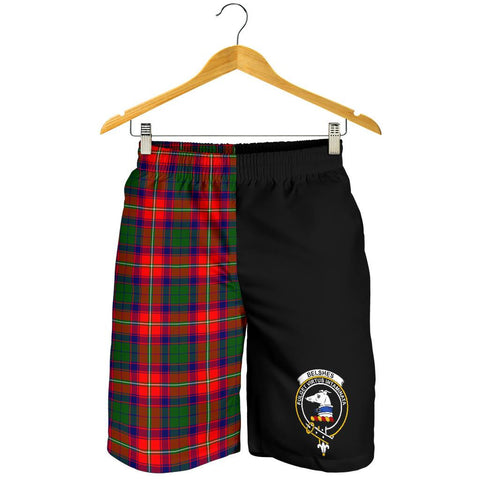Tartan Mens Shorts - Clan Belshes Crest & Plaid Shorts - Half Of Me Style