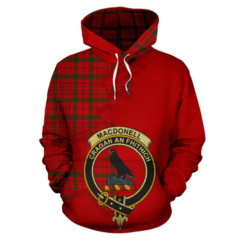 Tartan Hoodie - Clan MacDonnell of Keppoch Modern Crest & Plaid Hoodie - Scottish Lion & Map - Royal Style