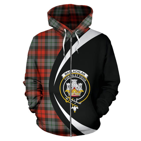 Image of Tartan Zip Up Hoodie - Clan Maclachlan Weathered Zip Up Hoodie - Circle Style Unisex