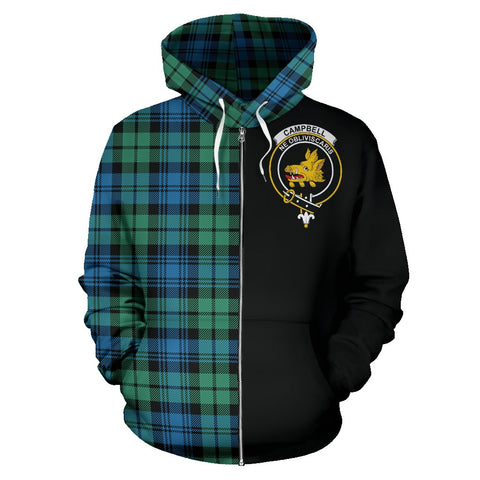 Campbell Ancient 01 Tartan Zip Up Hoodie Half Of Me - Black & Tartan
