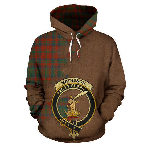Tartan Hoodie - Clan Matheson Ancient Crest & Plaid Hoodie - Scottish Lion & Map - Royal Style