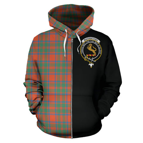 MacKintosh Ancient Tartan Zip Up Hoodie Half Of Me - Black & Tartan
