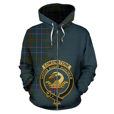 Tartan Hoodie - Clan Edmonstone Crest & Plaid Zip-Up Hoodie - Scottish Lion & Map - Royal Style