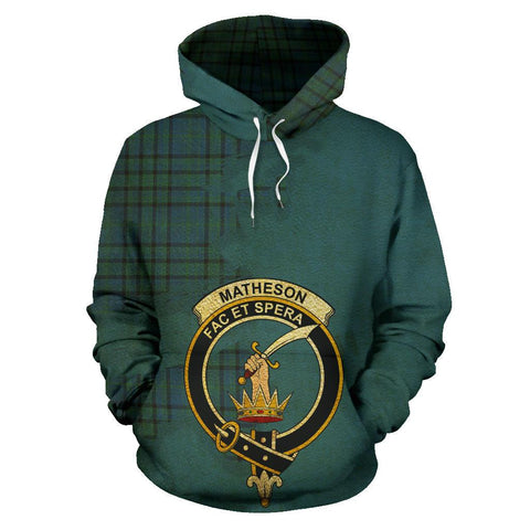 Tartan Hoodie - Clan Matheson Hunting Ancient Crest & Plaid Hoodie - Scottish Lion & Map - Royal Style