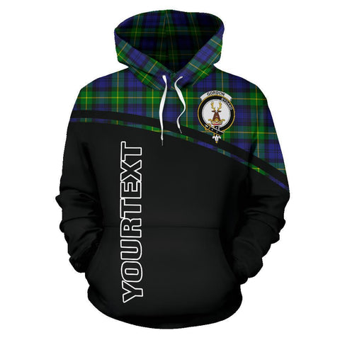 Image of Gordon Tartan Custom Personalised Hoodie - Curve Style Front