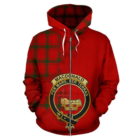 Tartan Hoodie - Clan MacDonald of Sleat Crest & Plaid Zip-Up Hoodie - Scottish Lion & Map - Royal Style