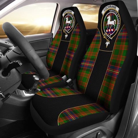 Image of Cochrane Tartan Car Seat Cover Clan Badge - Special Version