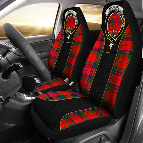 Macnicol (Of Scorrybreac) Tartan Car Seat Cover Clan Badge - Special Version