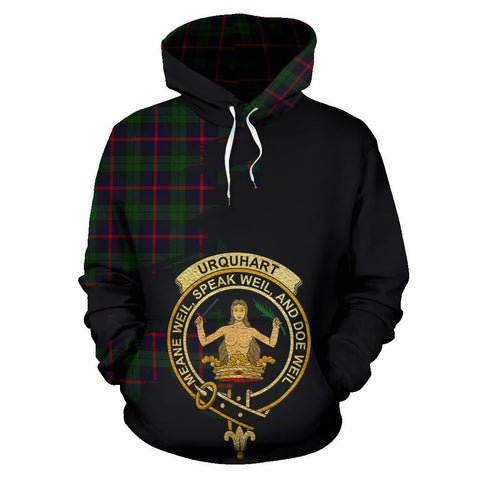 Tartan Hoodie - Clan Urquhart Modern Crest & Plaid Hoodie - Scottish Lion & Map - Royal Style