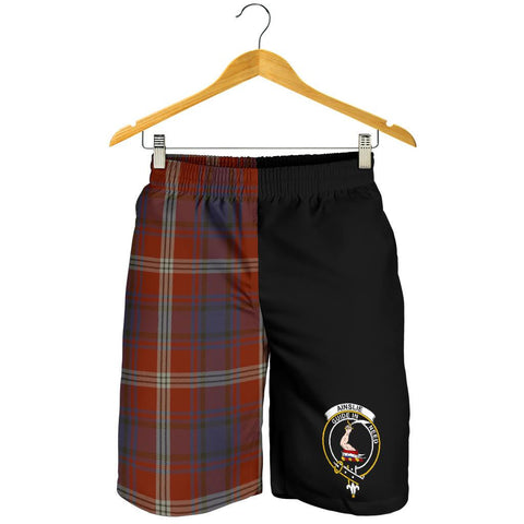 Tartan Mens Shorts - Clan Ainslie Crest & Plaid Shorts - Half Of Me Style