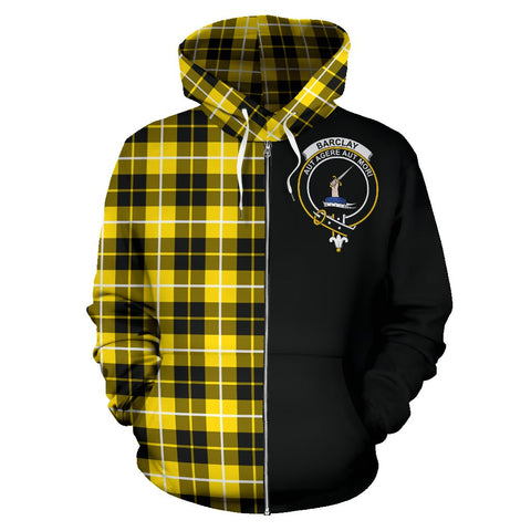 Barclay Dress Modern Tartan Zip Up Hoodie Half Of Me - Black & Tartan