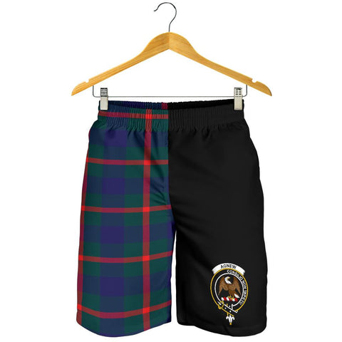Image of Tartan Mens Shorts - Clan Agnew Crest & Plaid Shorts - Half Of Me Style
