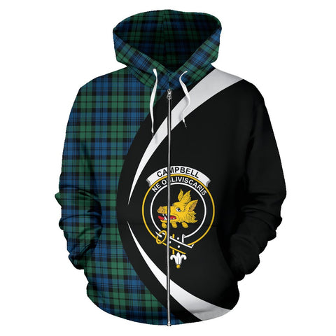 Image of Tartan Zip Up Hoodie - Clan Campbell Ancient 02 Zip Up Hoodie - Circle Style Unisex