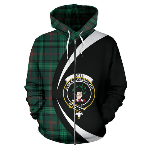 ScottishShop Tartan Zip Up Hoodie - Clan Ross Hunting Modern Hoodie - Circle Style