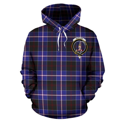 Image of Tartan Clan Dunlop Plaid Hoodie With Crest