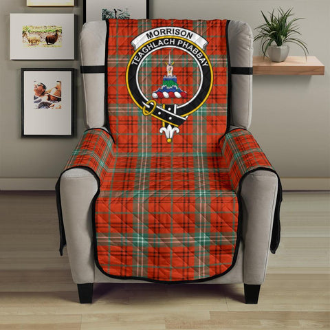 Clan Morrison Red Ancient Plaid & Crest Tartan Sofa Protector - 23 Inches