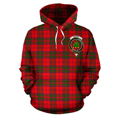 Tartan Clan Grant Plaid Hoodie With Crest
