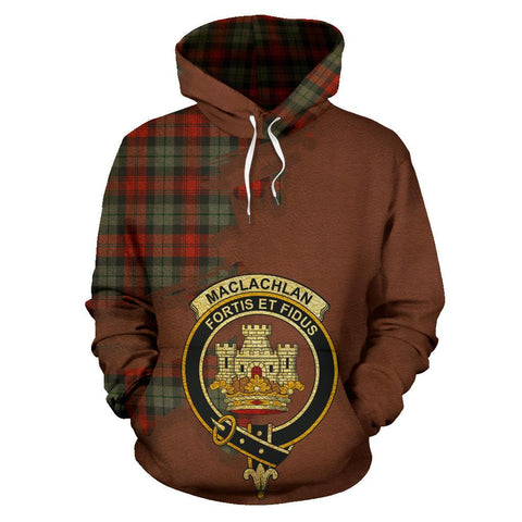 Image of Tartan Hoodie - Clan MacLachlan Weathered Crest & Plaid Hoodie - Scottish Lion & Map - Royal Style
