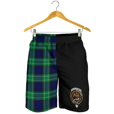 Tartan Mens Shorts - Clan Abercrombie Crest & Plaid Shorts - Half Of Me Style