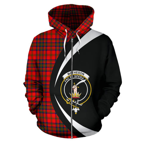 Tartan Zip Up Hoodie - Clan Matheson Modern Zip Up Hoodie - Circle Style Unisex