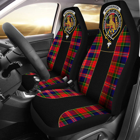 Macpherson (Chief) Tartan Car Seat Cover Clan Badge - Special Version