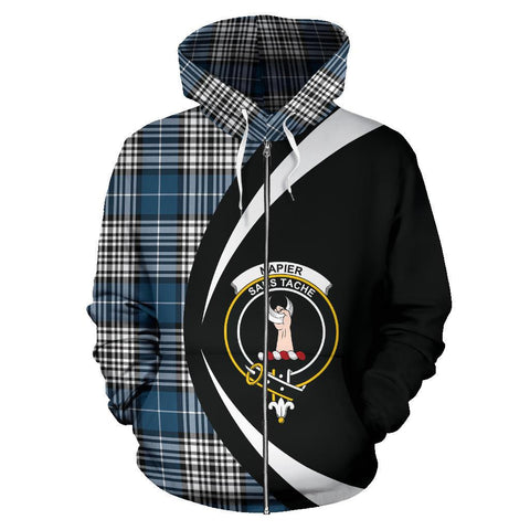 Image of Tartan Zip Up Hoodie - Clan Napier Modern Zip Up Hoodie - Circle Style Unisex