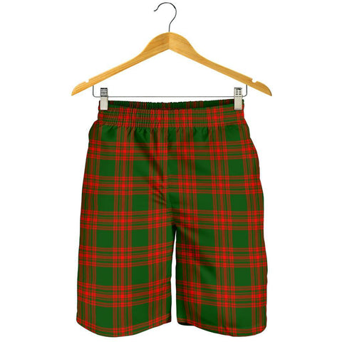 Tartan Mens Shorts - Clan Menzies Green Modern Plaid Shorts