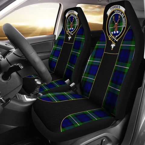 Forbes Tartan Car Seat Cover Clan Badge - Special Version