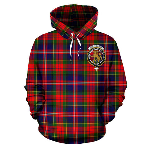 Image of Tartan Clan Macpherson Plaid Hoodie With Crest