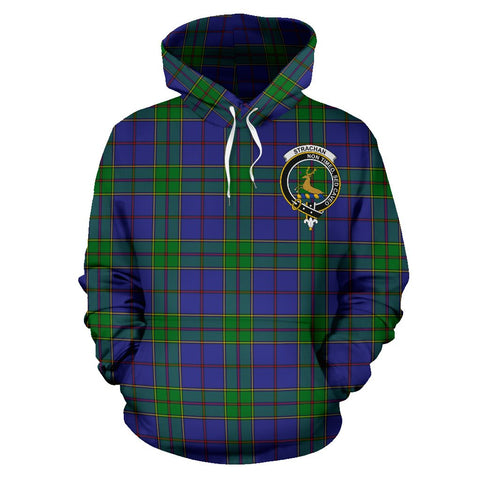 Image of Tartan Clan Strachan Plaid Hoodie With Crest