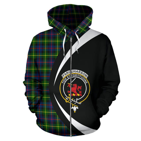 Image of Tartan Zip Up Hoodie - Clan Farquharson Modern Zip Up Hoodie - Circle Style Unisex
