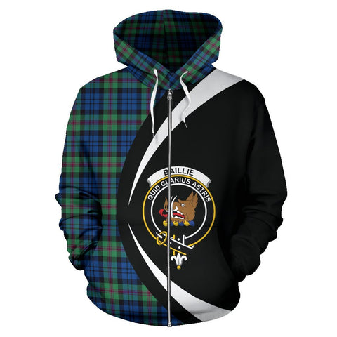 Image of Tartan Zip Up Hoodie - Clan Baillie Ancient Zip Up Hoodie - Circle Style Unisex