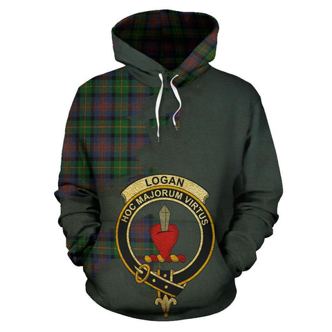 Image of Tartan Hoodie - Clan Logan Ancient Crest & Plaid Hoodie - Scottish Lion & Map - Royal Style