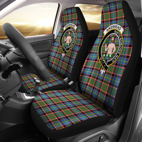 ScottishShop Seat Cover - Tartan Crest Aikenhead Car Seat Cover Clan Badge - Universal Fit