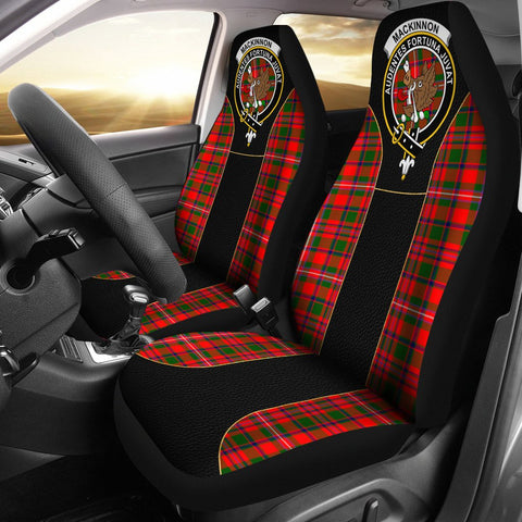 Mackinnon Tartan Car Seat Cover Clan Badge - Special Version