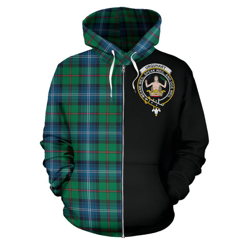 Image of Urquhart Ancient Tartan Zip Up Hoodie Half Of Me - Black & Tartan