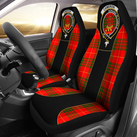 Image of Cameron Tartan Car Seat Cover Clan Badge - Special Version
