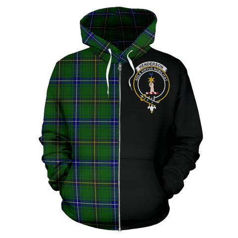 Image of Henderson Modern Tartan Zip Up Hoodie Half Of Me - Black & Tartan