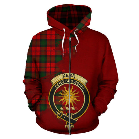 Tartan Hoodie - Clan Kerr Modern Crest & Plaid Zip-Up Hoodie - Scottish Lion & Map - Royal Style