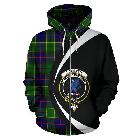 Image of Tartan Zip Up Hoodie - Clan Forsyth Modern Zip Up Hoodie - Circle Style Unisex