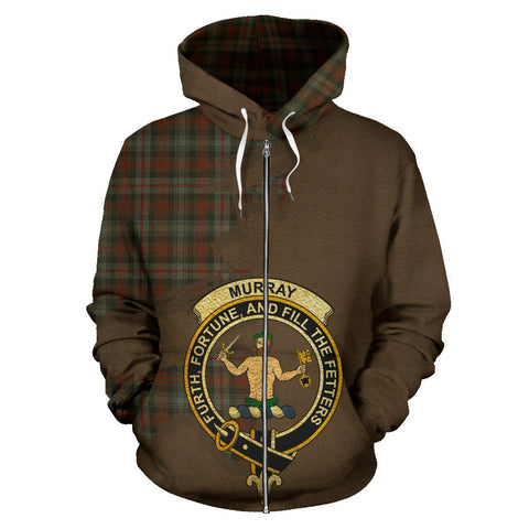 Tartan Hoodie - Clan Murray of Atholl Weathered Crest & Plaid Zip-Up Hoodie - Scottish Lion & Map - Royal Style